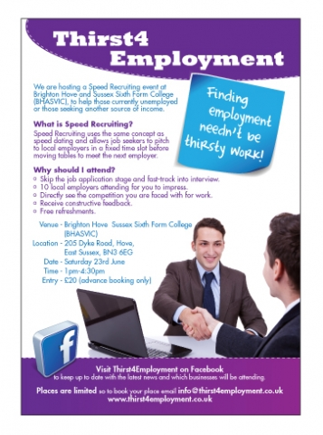 A single sided A5 flyer design for Thirst4 Employment