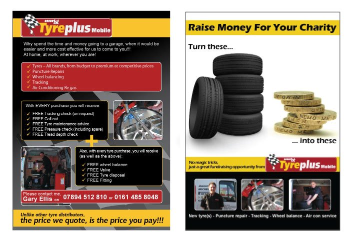 A double sided A5 flyer design for Tyre Plus Mobile