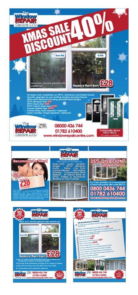 Flyer designs for WIndow Repair Centre Ltd.