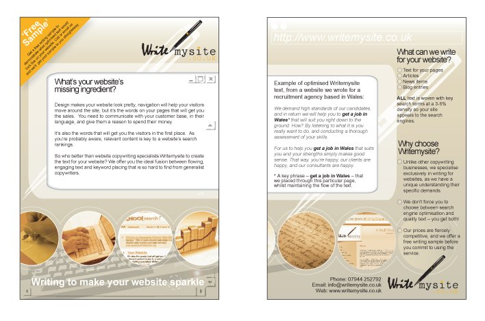 A double sided A5 flyer design for Write My Site.