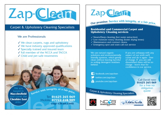 A double sided A5 flyer design for Zap Clean