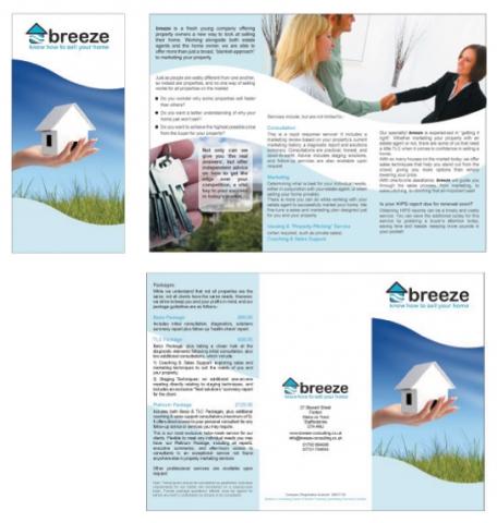 A folded A4 leaflet design for Breeze