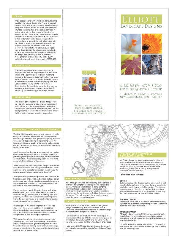 A folded A4 to DL leaflet design for Elliott Landscape Designs.