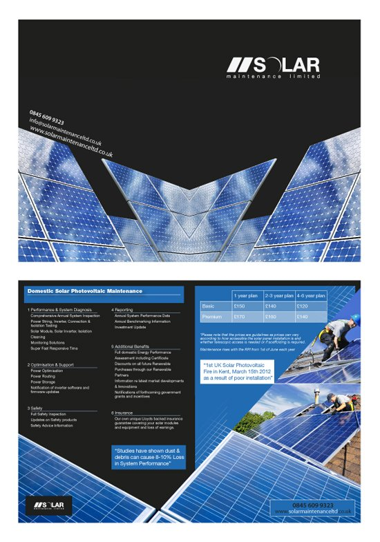A4 folded to A5 leaflet design for Solar.