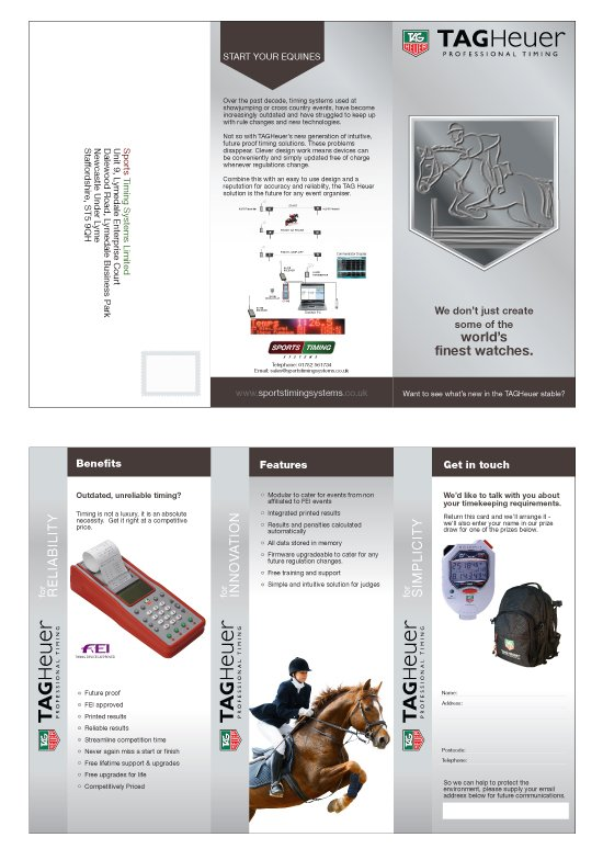 A4 folded to DL leaflet design for TagHeuer.