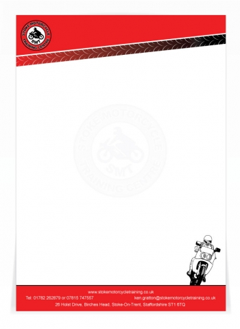 A letterhead design for Stoke Motor Cycle Training. Designed by am:pm graphics.