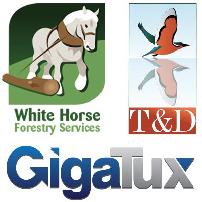 Examples of three different logo design created by am:pm graphics. White Horse Forestry Services logo, T & D logo and Gigatux logo.