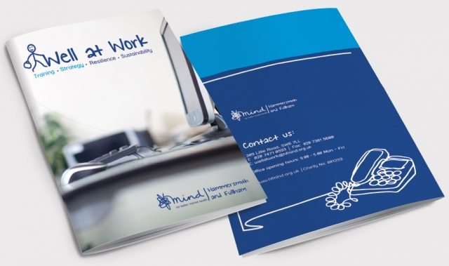 Front and back of a brochure for Mind, Well at Work. Designed by am:pm graphics.