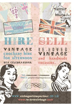 A poster design for Vintage China Parlour. Created by am:pm graphics