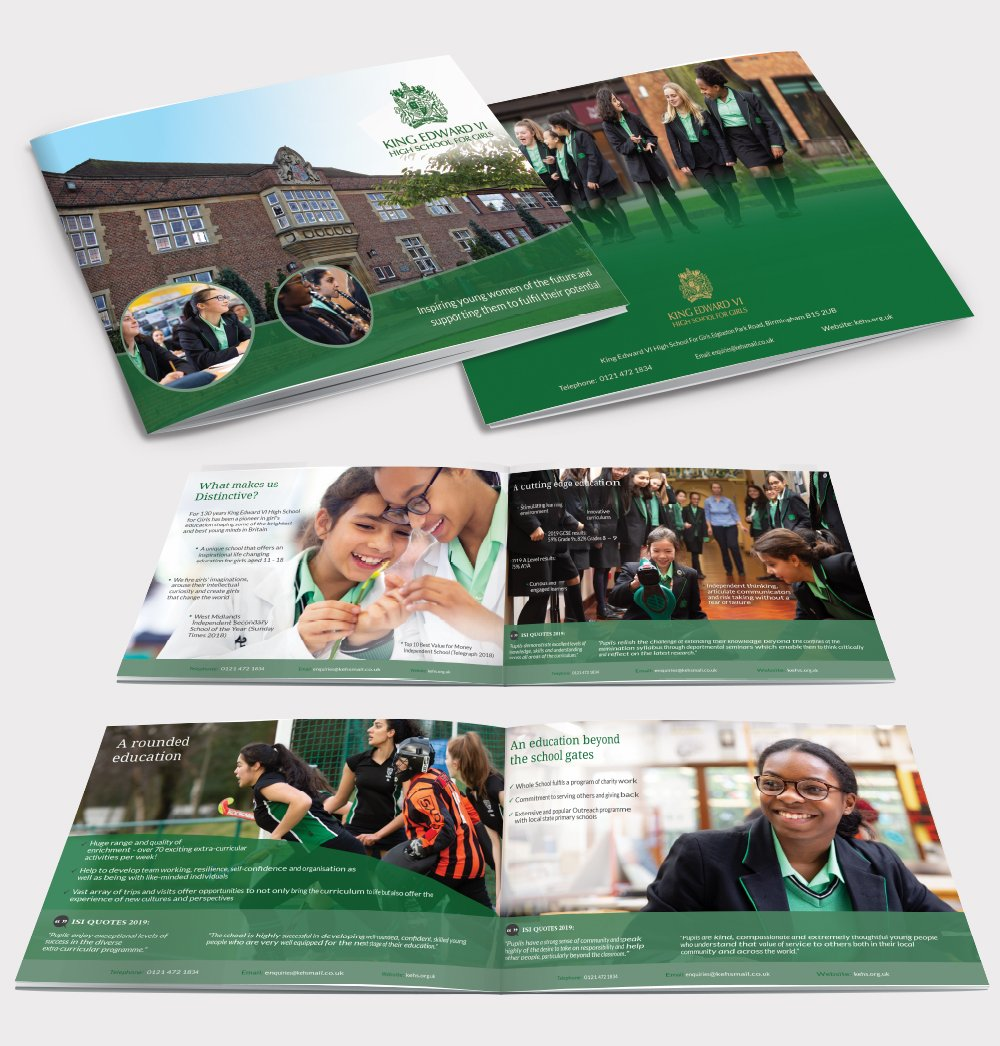 A brochure design for a school. Brochure designed by am:pm graphics.