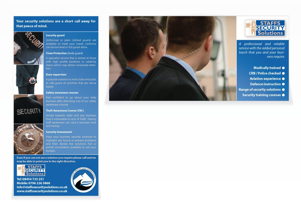 A double sided DL flyer design for Staffs Security Solutions