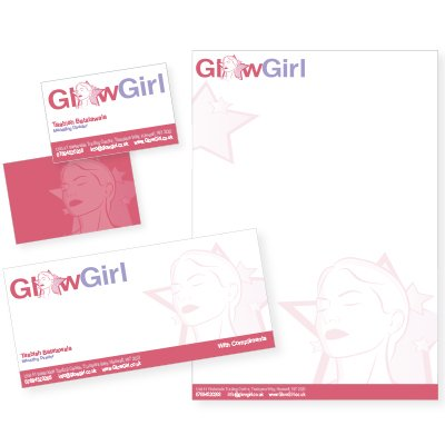 A business card (front and back), letterhead and compliment slip for Glow Girl. Designed by am:pm graphics.
