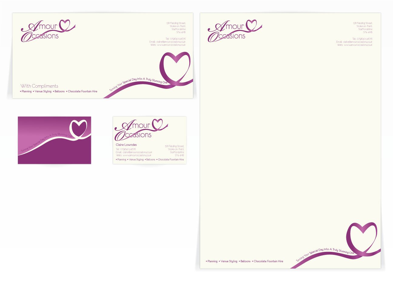 A compliment slip, letterhead and front and back business card design for Amour Occasions. Designed by am:pm graphics.
