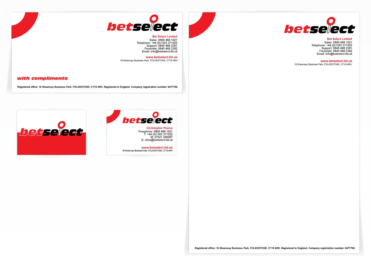 A compliment slip, letterhead and front and back business card design for Betselect. Designed by am:pm graphics.