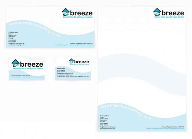 A compliment slip, letterhead and front and back business card design for Breeze. Designed by am:pm graphics.