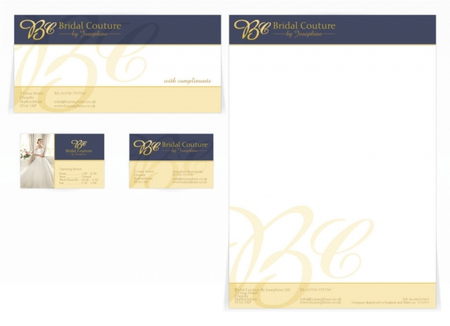 A compliment slip, letterhead and front and back business card design for Bridal Couture. Designed by am:pm graphics.
