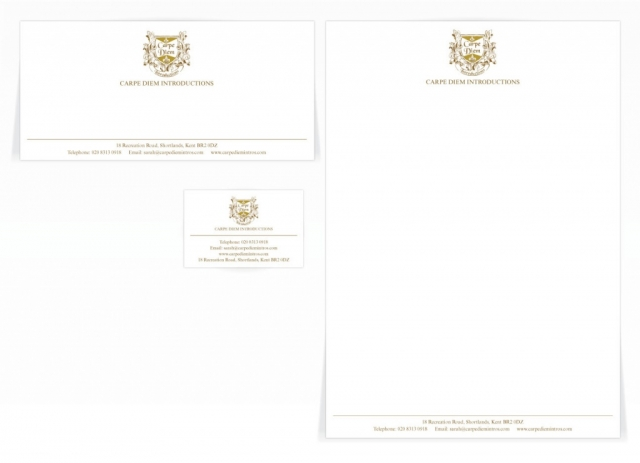 A compliment slip, letterhead and a business card design for Carpe Diem Introductions. Designed by am:pm graphics.