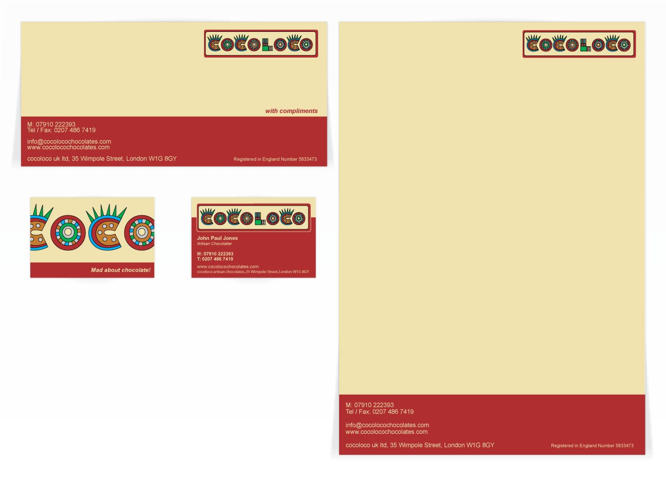 A compliment slip, letterhead and front and back business card design for Cocoloco. Designed by am:pm graphics.