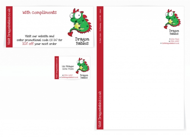 A compliment slip, letterhead and a business card design for Dragon Babies. Designed by am:pm graphics.