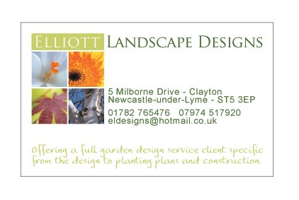 A business card design for Elliott Landscape Designs. Designed by am:pm graphics.