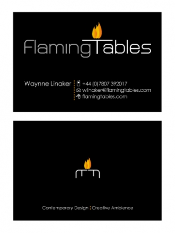 A double sided business card design for Flaming Tables. Designed by am:pm graphics.