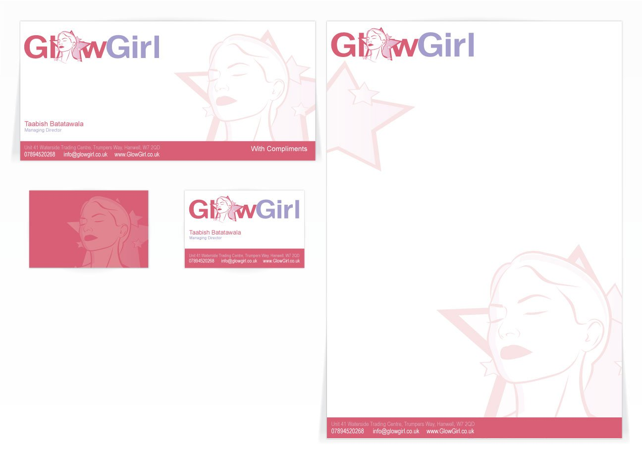 A compliment slip, letterhead and front and back business card design for Glow Girl. Designed by am:pm graphics.