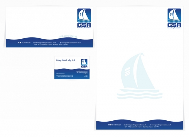 A compliment slip, letterhead and a single sided business card design for GSA. Designed by am:pm graphics.