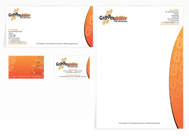 A compliment slip, letterhead and a double sided business card design for Groomability. Designed by am:pm graphics.