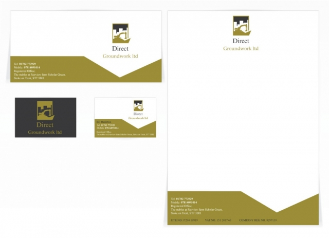 A compliment slip, letterhead and a double sided business card design for Direct Groundwork Ltd. Designed by am:pm graphics.