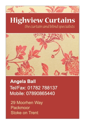 A single sided business card design for Highview Curtains. Designed by am:pm graphics.