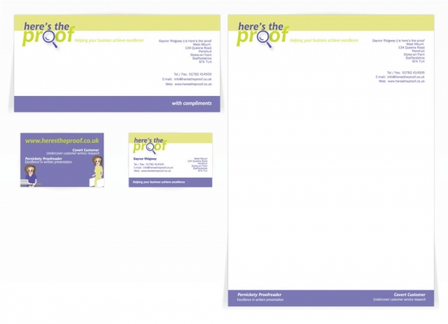 A compliment slip, letterhead and a double sided business card design for Here's the proof. Designed by am:pm graphics.