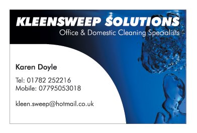 A single sided business card design for Kleensweep Solutions. Designed by am:pm graphics.