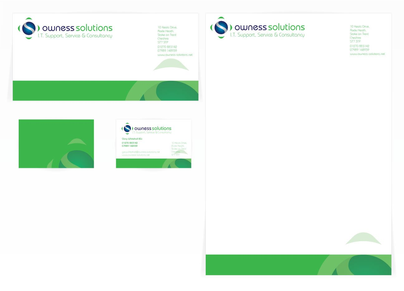 A compliment slip, letterhead and a double sided business card design for Owness Solutions. Designed by am:pm graphics.