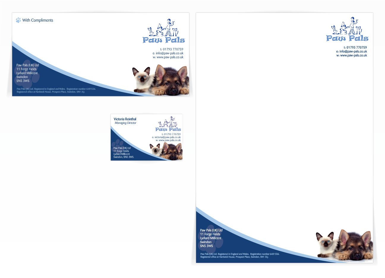 A compliment slip, letterhead and a single sided business card design for Paw Pals. Designed by am:pm graphics.