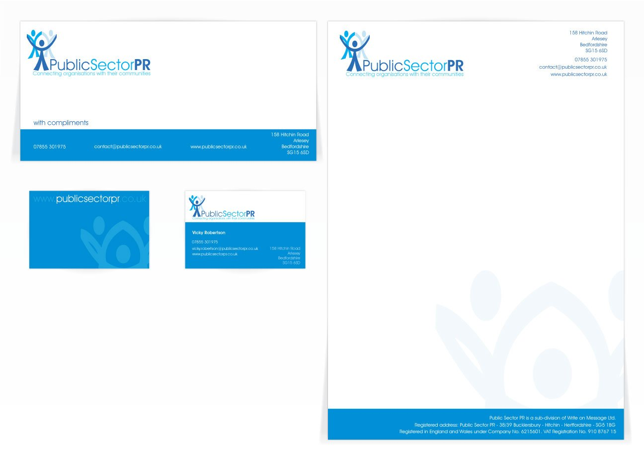 A compliment slip, letterhead and a double sided business card design for Public Sector PR. Designed by am:pm graphics.