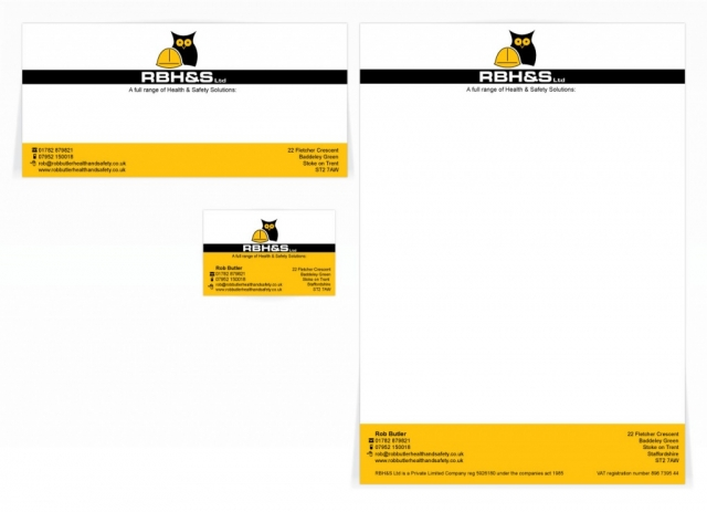 A compliment slip, letterhead and a single sided business card design for RBH&S. Designed by am:pm graphics.