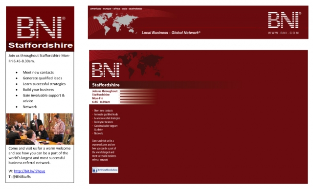 Banner designs and Twitter background for BNI Staffordshire.