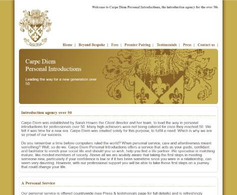 Website design for Carpe Diem Intros