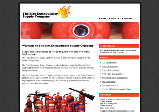 Website design for The Fire Extinguisher Supply Company.