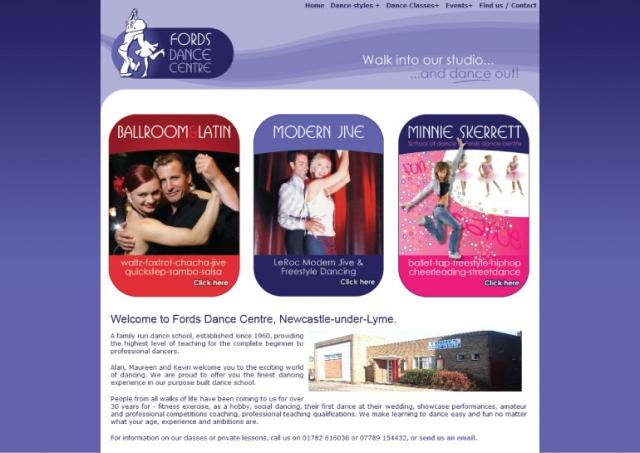 Website design for Fords Dance Centre