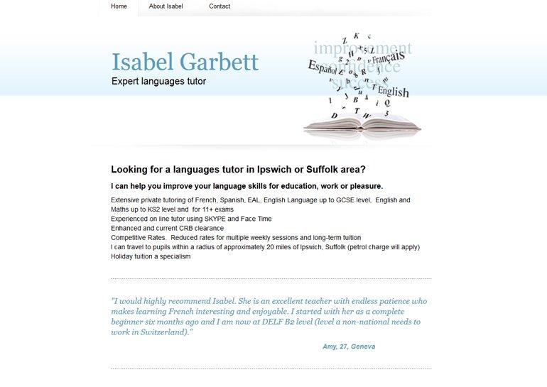 Website design for Isabel Garbett.