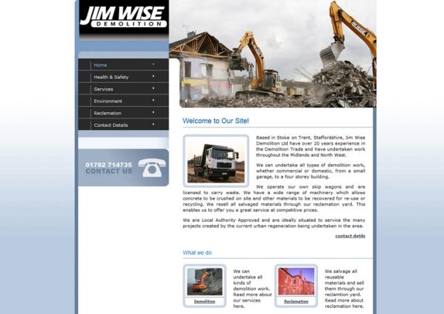 Website design for Jim Wise Demolition.