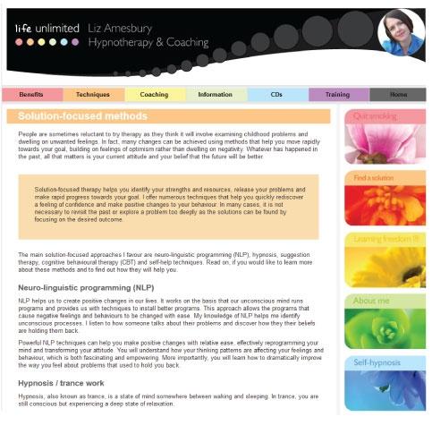 Website design for Life Unlimited.