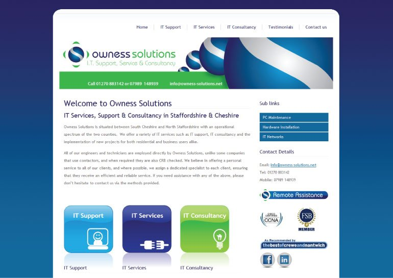 Website design for Oweness Solutions.