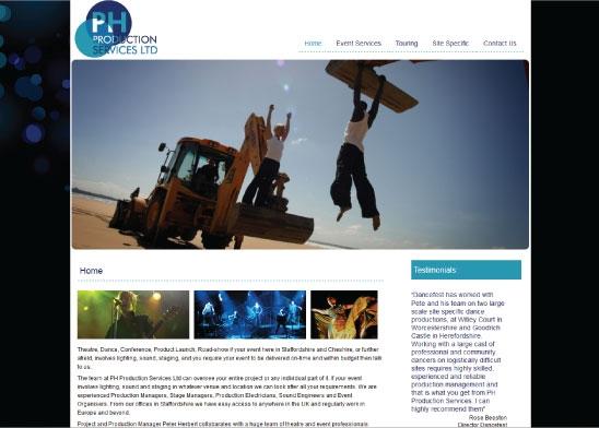 Website design for PH Production Services Ltd.