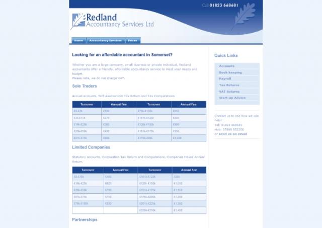 Website design for Redland Accountancy Services Ltd.