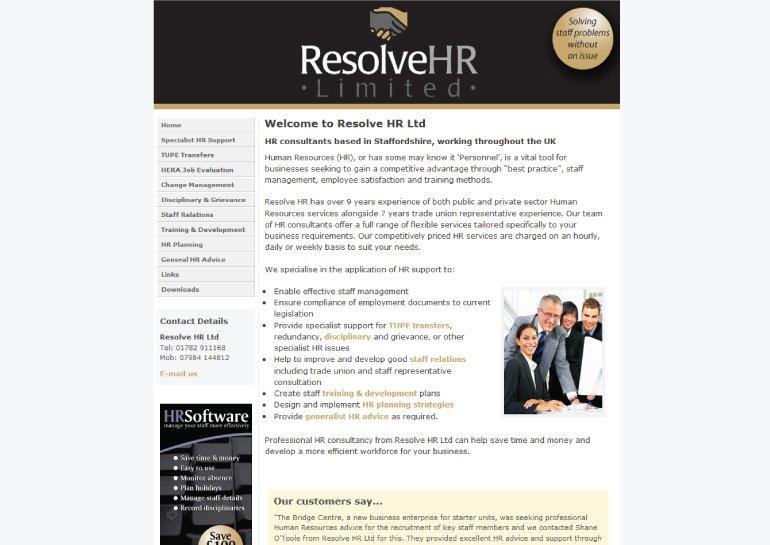 Website design for Resolve HR Ltd.