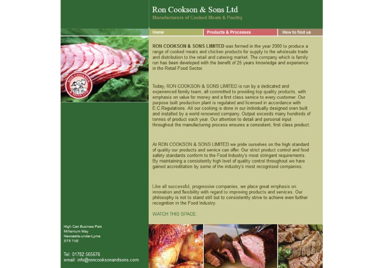 Website design for Ron Cookson and Sons Ltd.