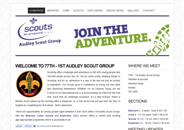 Website design for Audley Scouts.