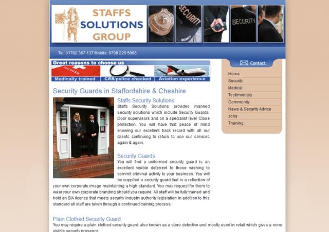 Website design for Staffs Solutions Group.